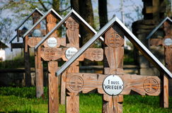 I world war cemetery in Ożenna. Graves of Russian soldiers on the I world war cemetery in Ożenna, Poland. It's a number 3 cemetery (as organized by Austro Stock Images