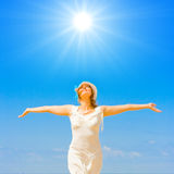 I worship the sun. On sky background Royalty Free Stock Images