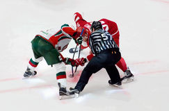 I. Yatsenko (50) on face-off. PODOLSK, RUSSIA - JANUARY 14, 2017: I. Yatsenko (50) on face-off on hockey game Vityaz vs AKBars on Russia KHL championship on Royalty Free Stock Photography
