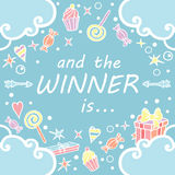 I zwycięzca jest Prezenta sztandar dla ogólnospołecznych medialnych konkursów Obrazy Royalty Free