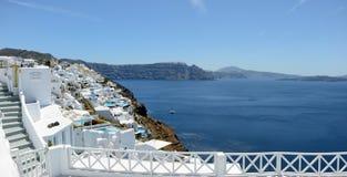 Ia,圣托里尼小岛的希腊镇都市风景  图库摄影