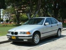 IA d'argento di BMW 316 di colore nel distretto di San Isidro, Lima Fotografie Stock Libere da Diritti