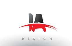IA I une brosse Logo Letters avec l'avant de brosse de bruissement de rouge et de noir Photo libre de droits