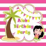 Ia mignon de fille heureux dans Aloha la bande dessinée de partie, la carte postale d'anniversaire, le papier peint, et la carte  Image libre de droits