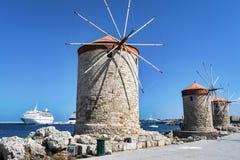 Rhodes three Windmills stock photo