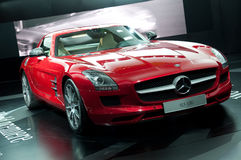 IAA Frankfurt. FRANKFURT - SEPTEMBER 20: New Mercedes Benz SLS AMG sportcar on the 63rd IAA (Internationale Automobil Ausstellung) on September 20 Royalty Free Stock Photography
