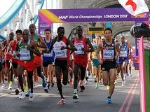 IAAF marathon 2017. Sunday 6 August 2017: the IAAF marathon starts from Tower Bridge Royalty Free Stock Image
