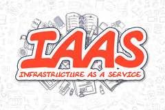 IaaS - Doodle Red Inscription. Business Concept. Royalty Free Stock Photos