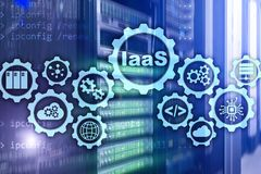 IaaS, Infrastructure as a Service. Online Internet and networking concept. Graph icons on a digital screen vector illustration