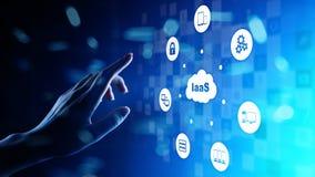 IaaS - Infrastruktur als Service-, Vernetzungs- und Anwendungsplattform Internet-Technologiekonzept auf virtuellem Schirm stock abbildung