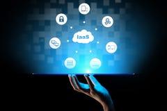 IaaS - Infrastruktur als Service-, Vernetzungs- und Anwendungsplattform Internet und Technologiekonzept stock abbildung