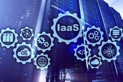 IaaS infrastruktur som en service Online-internet- och knyta kontaktbegrepp Grafsymboler p? en digital sk?rm royaltyfri fotografi