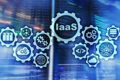 IaaS, infrastruttura come servizio Concetto online della rete e di Internet Icone del grafico su uno schermo digitale illustrazione di stock