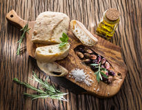 Сiabatta, olives and blue cheese. Royalty Free Stock Photos