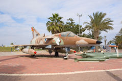 IAI Kfir C-7. HATZERIM, ISRAEL - JANUARY 02: IAI Kfir C-7 strike fighter of 1980s is displayed in Israeli Air Force Museum on January 02, 2012 in Hatzerim Royalty Free Stock Photo