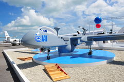IAI showcasing its multi-role medium altitude long endurance (MALE) Heron UAV at Singapore Airshow 2012 Royalty Free Stock Photo