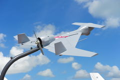 IAI som ställer ut dess obemannade flyg- medel (UAV) på Singapore Airshow 2012 Royaltyfria Bilder