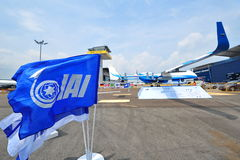 IAI Super Heron heavy fuel multi-role unmanned aerial vehicle (UAV) on display at Singapore Airshow Stock Image