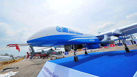 IAI Super Heron heavy fuel multi-role unmanned aerial vehicle (UAV) on display at Singapore Airshow Stock Photos
