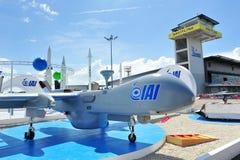IAI a touché le véhicule aérien (UAV) sur l'affichage à Singapour Airshow 2012 Image stock