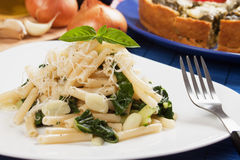 Ialian pasta with garlic and sliverbeet Royalty Free Stock Image