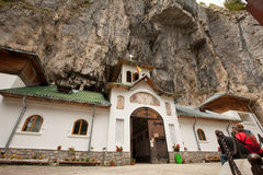 Ialomita cave monastery. Ialomita Monastery was built in sec. XVI at the entrance Ialomita Cave, being founded by Prince Mihnea the Evil Romanian Country. In stock photography