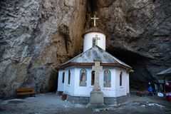 Ialomita monastery - built in sec. XVI. Ialomita Monastery was built in sec. XVI at the entrance Ialomita Cave, being founded by Prince Mihnea the Evil Romanian royalty free stock photos