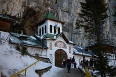 Ialomita monastery - built in sec. XVI. Ialomita Monastery was built in sec. XVI at the entrance Ialomita Cave, being founded by Prince Mihnea the Evil Romanian royalty free stock photography