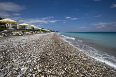 Ialysos strand Ö av Rhodes, Grekland Arkivfoton