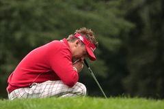Ian Poulter pauses for thought. Ian Poulter , pauses for thought on his way to victory at the 2011 Schüco Open, which was held in Hubbelrath Germany Stock Images
