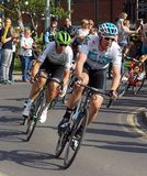 Ian Stannard - Team Sky - Tour de Yorkshire. Ian Stannard of Team Sky and South African Jay Robert Thomson of team Dimension Data pictured at the Tour de stock image