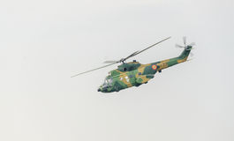 IAR Puma elicopter flying in the sky, stunt aerobatic. Royalty Free Stock Photo