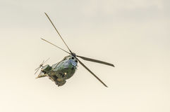 IAR Puma elicopter flying in the sky, stunt aerobatic. Stock Photos