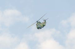 IAR Puma elicopter flying in the sky, stunt aerobatic. Royalty Free Stock Photography