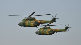 IAR-330 Puma. Romanian helicopter made in 1960s under french licence. Here is at Bucharest International Air Show, in 2014 Stock Image