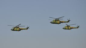 IAR-330 Puma. Romanian helicopter made in 1960s under french licence. Here is performing at TransilvAero Show in 2010, in Brasov, Romania Stock Images