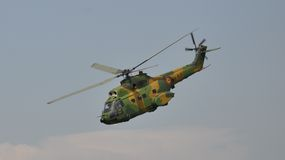 IAR-330 Puma. Romanian helicopter made in 1960's under french licence. Here is performing at TransilvAero Show in 2010, in Brasov, Romania Stock Photography
