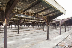 Iarda abbandonata della ferrovia Fotografie Stock Libere da Diritti