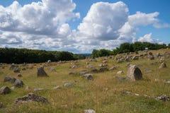 Iarda grave di Viking, Lindholm Hoeje, Aalborg, Danimarca Fotografia Stock Libera da Diritti