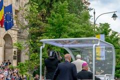 Iasi, Romênia - em maio de 2019: Papa Francisco fotografia de stock royalty free