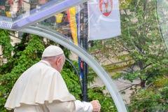 Iasi, Romênia - em maio de 2019: Papa Francisco foto de stock
