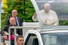 Iasi, Romênia - em maio de 2019: Papa Francisco imagens de stock royalty free
