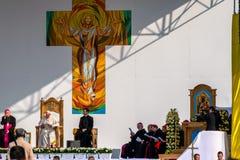 Iasi, Roumanie - mai 2019 : Pape Francis photos stock
