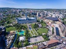 Iasi Rumänien, Juli 2017: Iasi stadsmitt och Palas galleriaaeria Arkivfoto