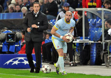 Iasmin Latovlevici and Laurentiu Reghecampf pictured during UEFA Champions League game Royalty Free Stock Photography