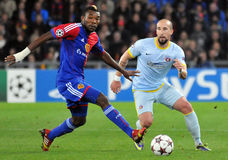 Iasmin Latovlevici and Serey Die pictured during UEFA Champions League game Stock Image