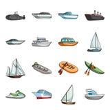 Iate, barco, forro, tipos de navio e transporte da água Ícones ajustados da coleção do transporte do navio e da água no estilo do Fotografia de Stock