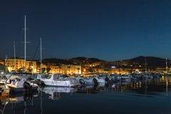 Iate de prazer e barcos de motor, porto de Ajácio imagens de stock royalty free
