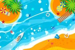 Iate do motor da vista superior Feriados do resto da praia Férias de verão Hora de viajar ilustração stock