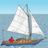 Iate do vetor no mar Imagens de Stock Royalty Free